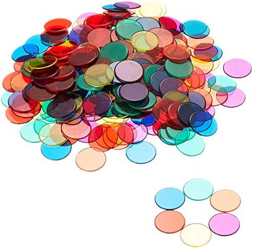Learning Resources Transparent Color Counting Chips, Set of 250 Assorted Colored Chips, Ages 5+