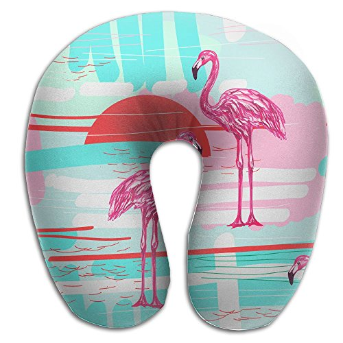 KIENGG Hawaii Beach Flamingo Bird Memory Foam U-Shaped Pillow,Fashion Travel Rest Pillow For Neck Pain,Breathable Soft Comfortable Adjustable by KIENGG