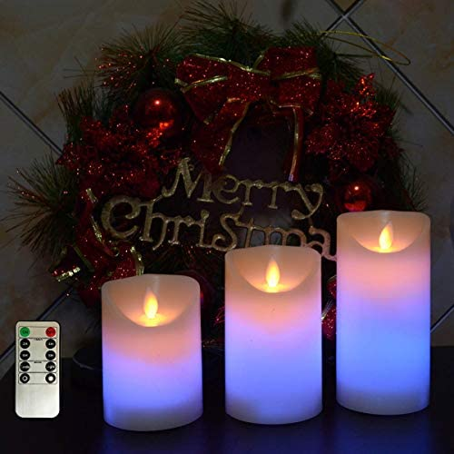 kingleder Battery Operated Pillar Candles,Color Changing Realistic Flickering LED Candle for Christmas Decorations, Fireplace Decor,Wall Sconces,Fireplace Decoration 4 5 6 Set Remote Timer