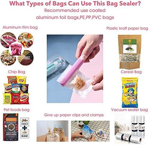 Tititek Household Heat Sealer Bags Machine Food Saver Storage Color Street Nail Strips Bag Sealer for Food (Pink)