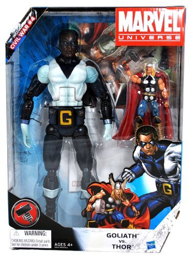 Hasbro Year 2010 Marvel Universe Series 2 HAMMER Exclusive 2 Pack Action Figure Set - GOLIATH (12 Inch Tall) vs THOR (5 Inch Tall) Plus Bonus Comic Civil War #4