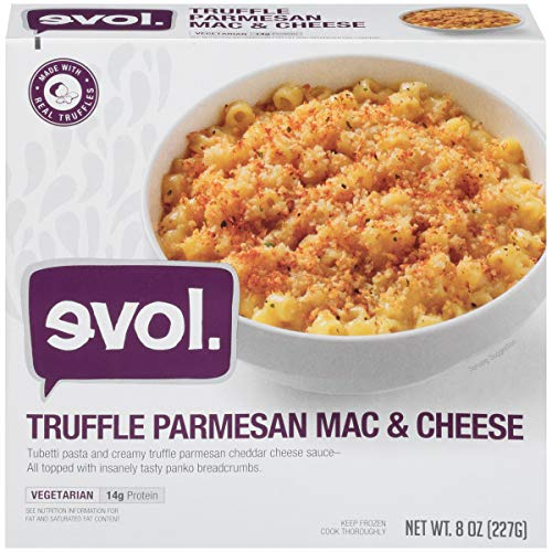 EVOL Truffle Parmesan Mac and Cheese, Vegetarian, Single Serve, 14 Grams of Protein Per Serving, 8 Ounce (Frozen)