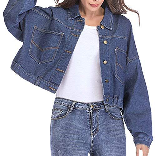 Relaxed Giacca Dunkelblau Manica Corto Stile Giovane Tendenza Lunga Jeans Giacche Moda Autunno Streetwear Donna Cappotto Ragazza Casual Outwear Primaverile Chic Elegante YXEnqYRdf
