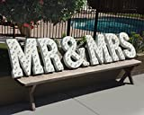 MR & MRS - Large 21'' tall Rustic WHITE Vintage Inspired Metal Marquee Sign Light