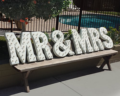 MR & MRS - Large 21'' tall Rustic WHITE Vintage Inspired Metal Marquee Sign Light by Rustalgic