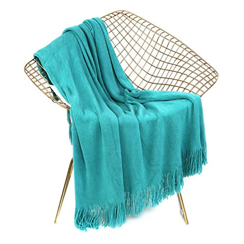 LEEVAN Luxury Super Soft Throw Blanket Lightweight Cozy & Warm Acrylic Blanket with Decorative Tassels for Couch Sofa Bed Travel All Seasons Daily Use (Turquoise, 51