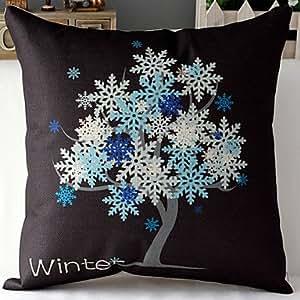 Diseño de Reino Unido estilo moderno del árbol de invierno/funda de almohada de algodón de lino decorativo