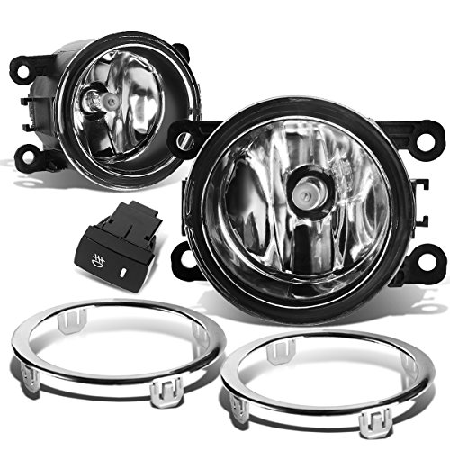 (Pair of Clear Lens Bumper Driving Fog Lights+Harness+Switch for Honda Pilot 12 13 14 15)