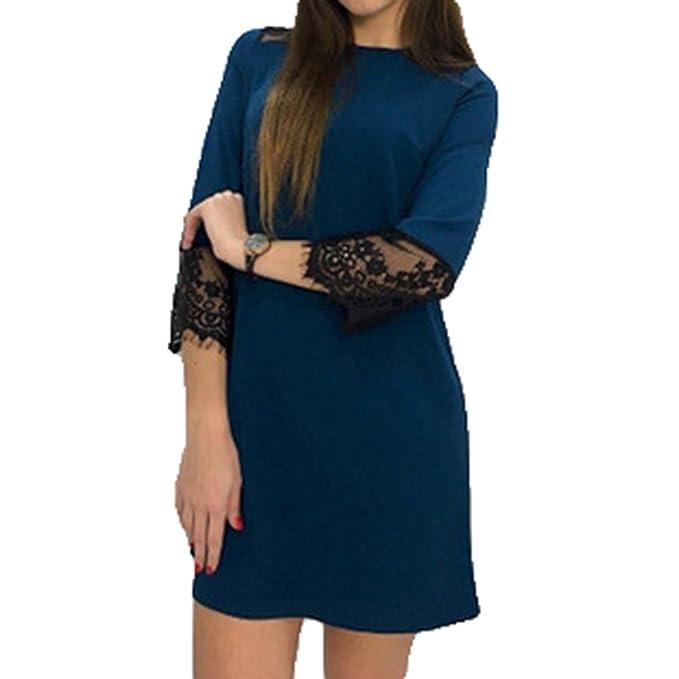 Mode Damen Einfarbig Spitze Ubergröße Patchwork Kleider Kleid Mini Nmv8n0w