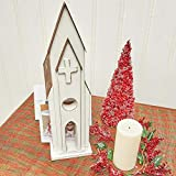 GALLERIE II Rustic Church Card Holder Iron Greeting Card Photo Holder Table Home Decor for Everyday Christmas Holiday Xmas Holiday White