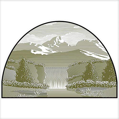 Semicircle Area Rug Woodcut Style Mod Illustration of Mountain Stream and Waterfall Paradise Art Sage Green Living Dinning Room & Bedroom Rugs W31 x H20 INCH ()