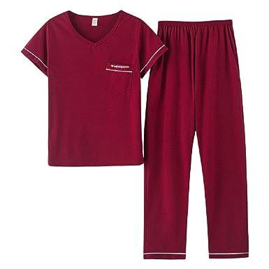 Pijamas para Hombre Verano Algodón Manga Corta Servicio ...