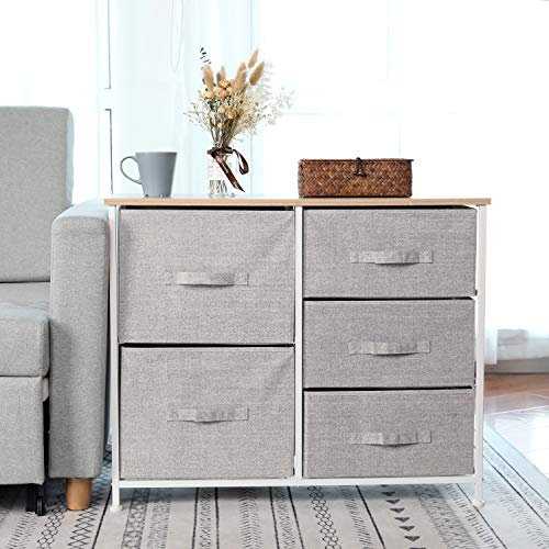 Dresser Storage Tower with 5 Storage Cubes,Foldable Fabric Drawer Bins,Sturdy Steel Frame, Wood Top Organizer Unit for Bedroom, Hallway, Closet, Office (Storage Cube Tower)