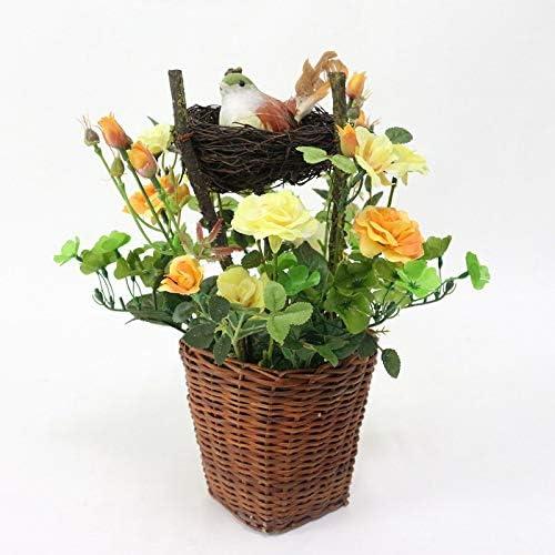 MEITAO Flor Artificial Flores De Rosas Artificiales Nido De Pájaro Plantas En Macetas Pájaro De Simulación De Paisaje para Boda En Flor Decoración De Fiesta En El Hogar