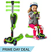 #LightningDeal S SKIDEE Scooter for Kids with Folding/Removable Seat – Adjustable Height, 3 LED Light Wheels, 3 Wheels Kick Scooter for Girls & Boys