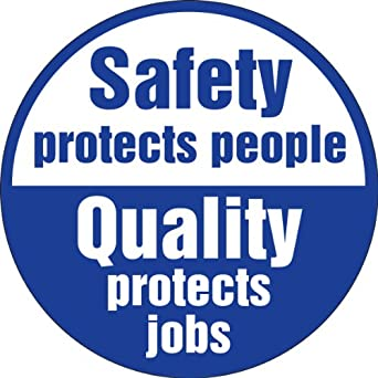 """Accuform Signs LHTL304 Adhesive Vinyl Hard Hat Decal, Legend """"SAFETY PROTECTS PEOPLE QUALITY PROTECTS JOBS"""", 2-1/4"""" Diameter, Blue on White (Pack of 10)"""