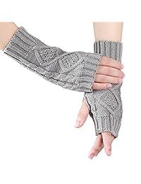 Women Winter Fingerless Gloves Warm Knitted Hand Wrist Warmer Mitten