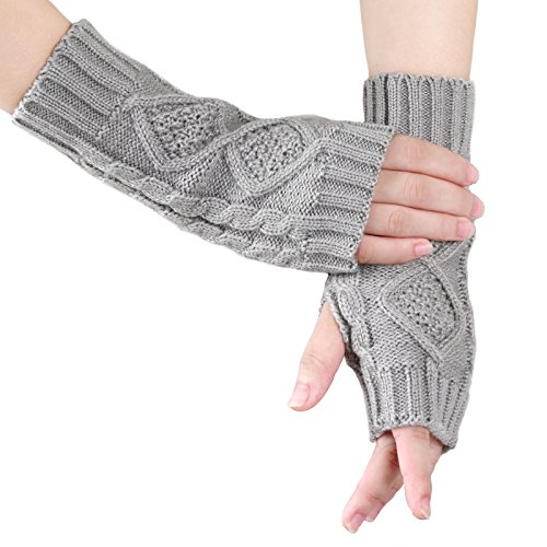 Fingerless Gloves Warm Knitted Hand Wrist Ladies New Warmer Mitten (Grey) (Knitted Wrist Warmers)