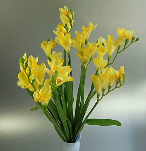 Bush of 12 Artificial Silk Yellow Freesia Stems ()