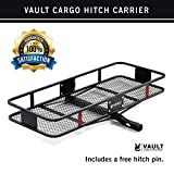 """60"""" x 24"""" Cargo Hitch Carrier by Vault - Haul Your Cooler & Camping Gear with this Rugged Steel Constructed Storage Rack & Basket for Your Truck or SUV - Easily Mounts to Trailer Towing Hitches"""