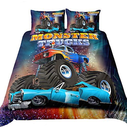 Suncloris,3D Monster Truck Home Bedding,Crushing on Car Freestyle Monster Truck Duvet Cover Sets.Included: Duvet Cover,Pillowcase(no Comforter Inside) (Twin) (Monster Trucks Bedding Set)