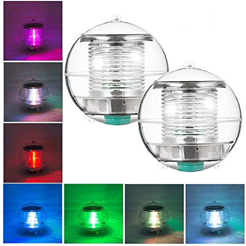 Eletorot Solar Floating Light, Pond Light, Pool Light, Hanging Ball Lights with Color Changing, Waterproof ABS Plastic Night Light for Garden, Fountain, Swimming Pool, Party and Home Decor(2 Pack)