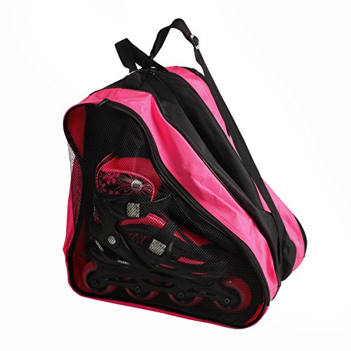 - High Bounce Rollerblades Bag, Hockey Skate Figure Shoes Case Roller Holder Inline & Helmet (Pink & Black)