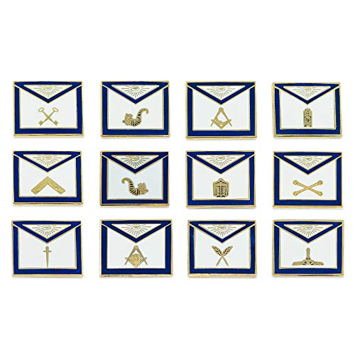 (Officer Apron Blue & White Masonic Lapel Pin (Set of 12 Pins) - 3/4