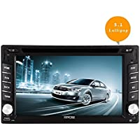 EinCar 6.2 Android 5.1 Lollipop Double Din Car DVD Player with Quad Core In Dash Navigation GPS Unit Radio Audio Receiver Bluetooth Stereo Multimedia System Support WiFi/Mirrorlink/1080P