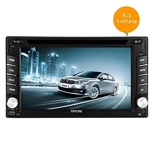 EinCar 6.2'' Android 5.1 Lollipop Double Din Car DVD Player with Quad Core In Dash Navigation GPS Unit Radio Audio Receiver Bluetooth Stereo Multimedia System Support WiFi/Mirrorlink/1080P