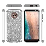 Moto G6 Glitter Case,Luxury Glitter Sparkle Bling Case,Hybrid PC Silicone Faux Leather Cover,Dual Layer Armor Protective Phone Case for Motorola Moto G6/Moto G (6th Generation),5.7