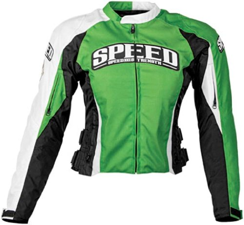 Speed & Strength Womens Throttle Body Textile Motorcycle Jacket Green Large