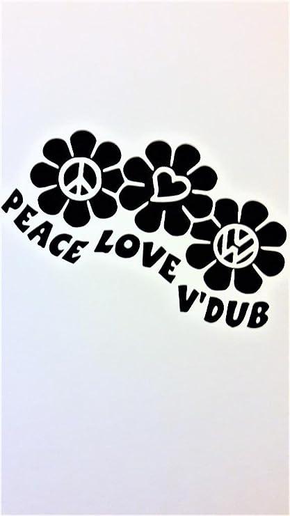 ef36592e3b Amazon.com  Peace Love Vdub Volkswagon VW Hippie Vinyl Decal Sticker ...