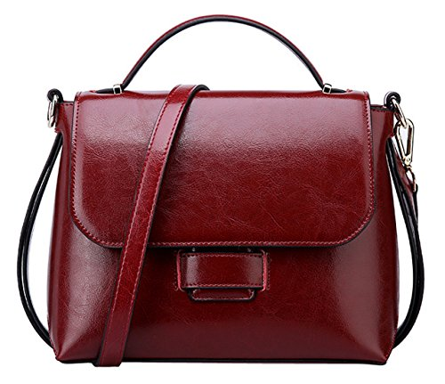 Saierlong New Woman Red Wine Cowhide Genuine Leather Shoppers And Shoulder Bags Red Wine
