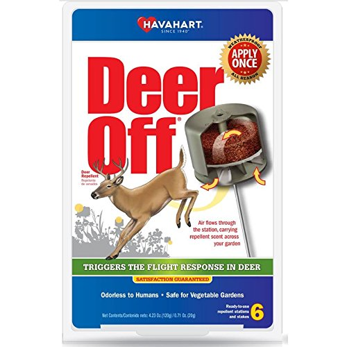 Havahart DO5600-B Deer Off Weatherproof Deer Repellent; Weatherproof; Odorless To Humans; Safe for Vegetable Gardens; Ready-To-Use; 6 Per Pack (Pack of 2)