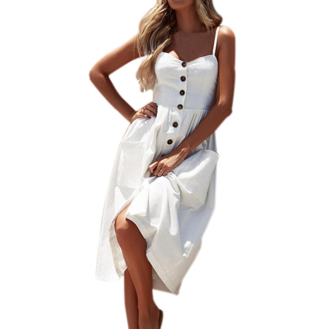Nikuya Women Summer Sexy Buttons Solid Off Shoulder Sleeveless Dress Princess Dress (XL, White)