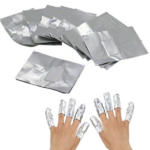 HUELE Soak Off Gel Polish Remover Foils Nail Wraps with Cotton Pad 200 pcs