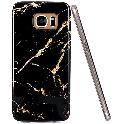 - Galaxy S7 Edge Case, JAHOLAN Yellow Marble Design Slim Flexible Clear Bumper TPU Soft Case Rubber Silicone Skin Cover for Samsung Galaxy S7 Edge