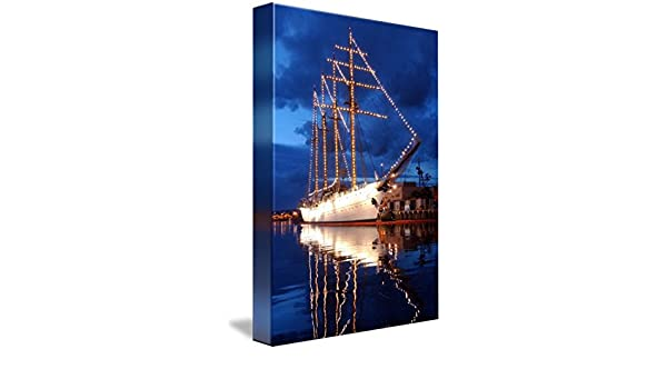 Nautical Geometric Maine 12x18 Gallery Wrapped Stretched Canvas