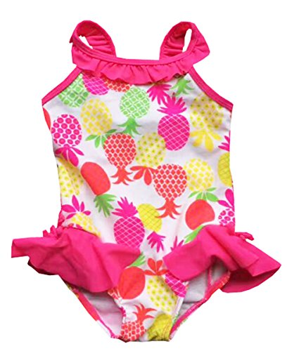 Pink Infant One Piece - eKooBee Infant Baby Girl Swimwear One Piece Pineapple Swimsuit Hot Pink