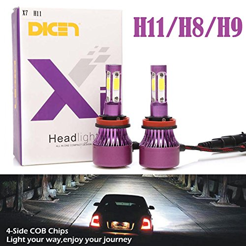 H11 H8 H9 LED Headlight Bulbs 6000K Cool White High Beam/Low Beam/Fog Light 12000lm 4 Side COB Chips Super Bright 360 Degree Auto Headlamp All-in-One Conversion Kit Plug & Play -2 Yr Warranty