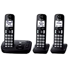 Panasonic KXTGD223B DECT 6.0 Expandable Digital Cordless Answering System 3-Handset