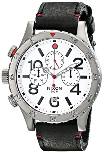 Nixon Men s 48-20 Gun Rose Stainless Steel Chronograph Watch With Leather Band