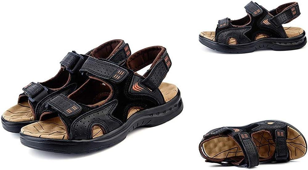 2019 Nuevas Sandalias de Verano Sandalias de Piel de Vaca Masculina Ocio Hombres Playa Zapatos Moda Arena Arrastre Vinteen Black