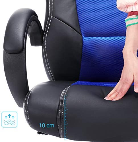 SONGMICS OBG56L Racing - Silla de Escritorio de Oficina Ergonómica Regulable con Ruedas, color Azul 28
