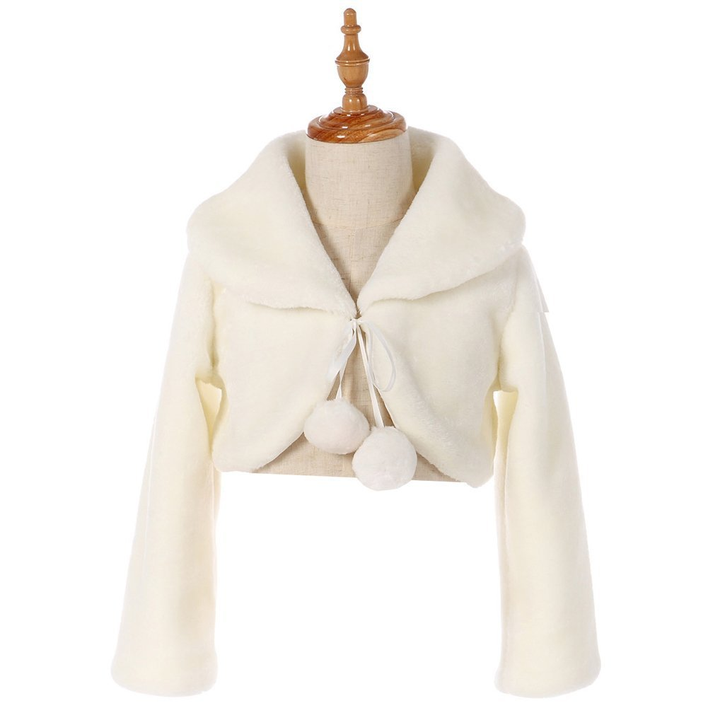 Fankeshi Ivory Faux Fur Flower Girl Bolero Shrug Accessories Princess Cape S