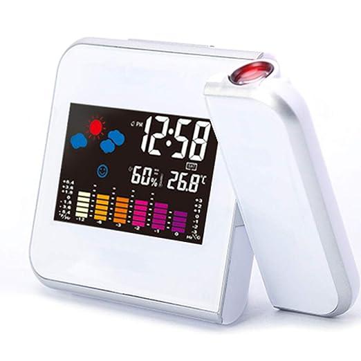 RENQIAN Mesa Reloj Led Proyección Despertador Fecha Digital ...