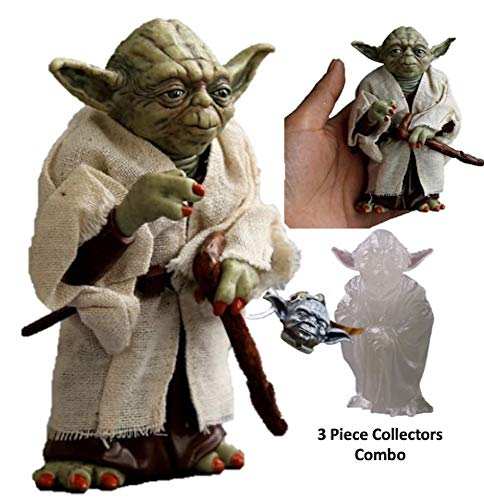 """RLLLC Yoda Action Figure Star Wars Jedi Knight Master PVC Collectible Model Toy Doll 4-3/4"""" Tall Combo Figurine Small -"""