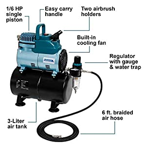 Professional Cool Running Master Airbrush 1/4 hp Twin Cylinder Piston Air Compressor with Extra Large Storage Tank – Model TC-96T High Airflow Performance 40 Ltrs/Minute – Hose, Regulator Water Trap