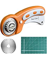 45mm Rotary Cutter with 1 Pcs Replacement Blade + 30x45 cm Double Sided Professional Rotary Mat (Orange)